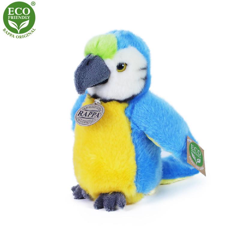 plyšový papoušek modrý, 19 cm