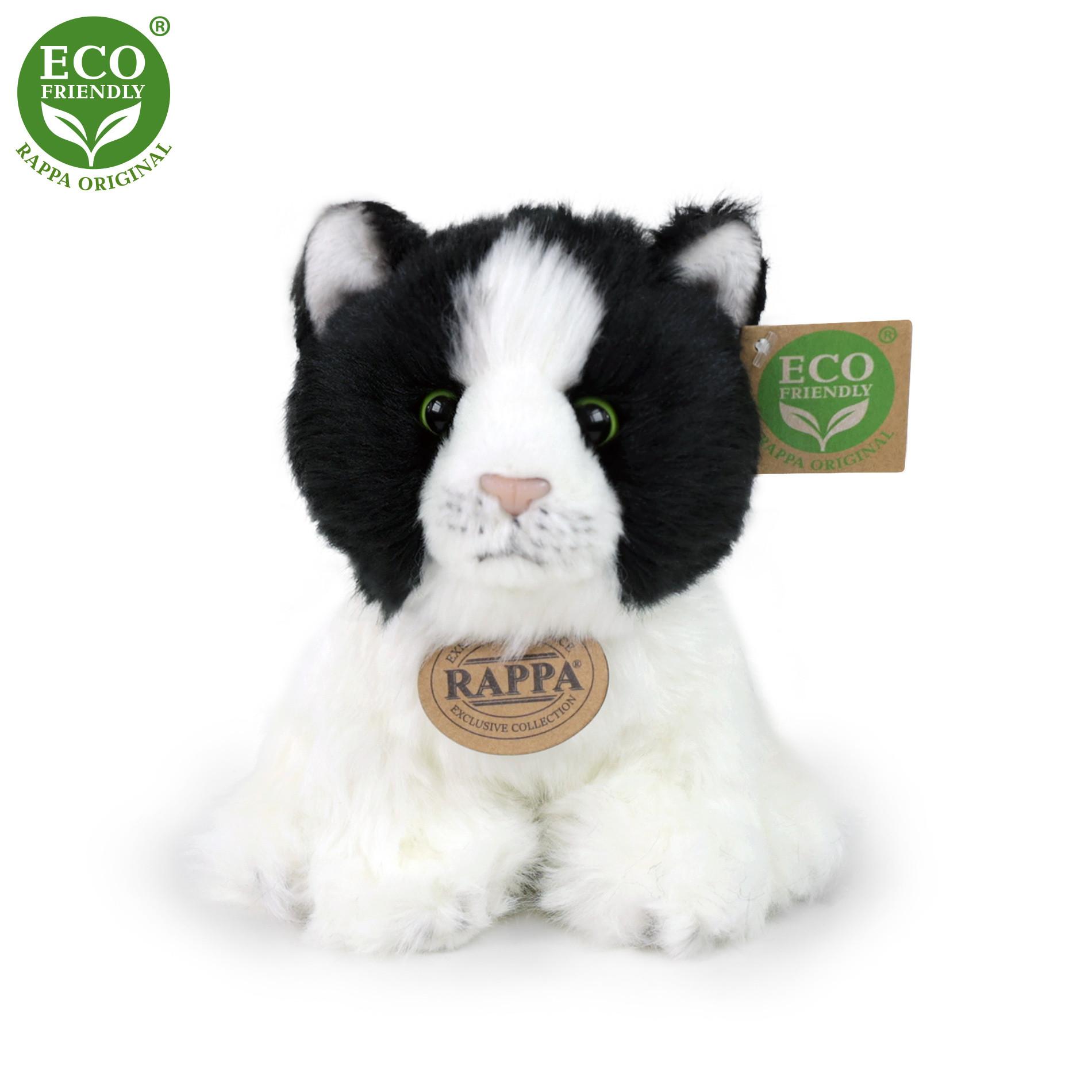 plyšová kočka bílo-černá sedící, 17 cm, ECO-FRIENDLY