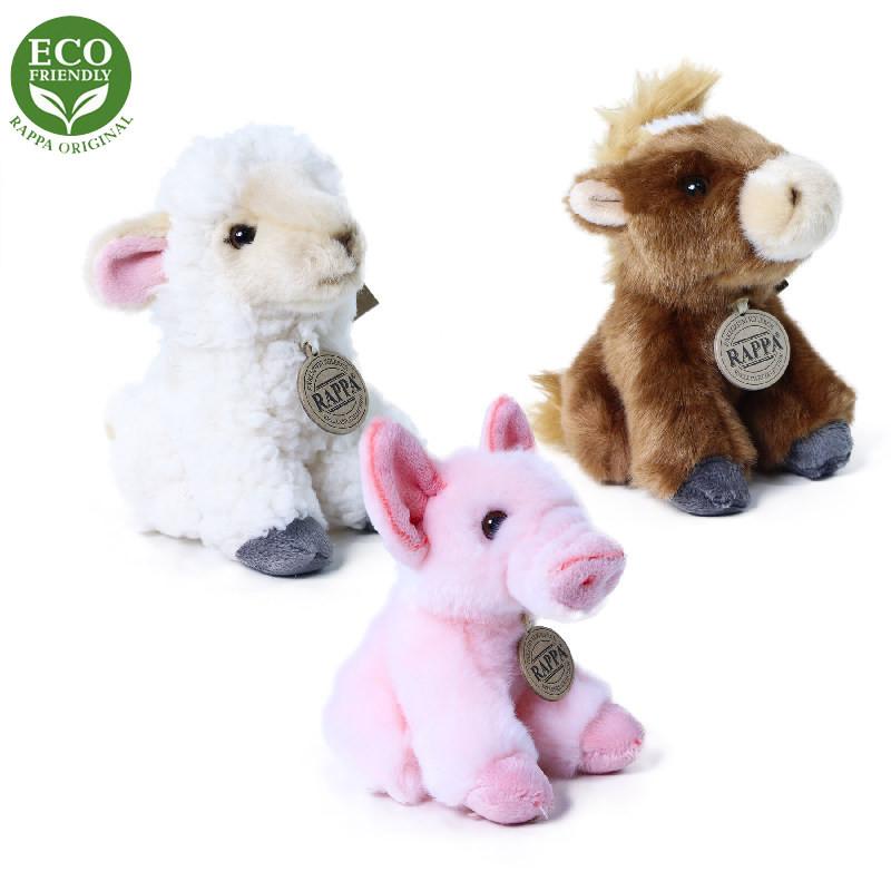 Plyšová zvířata farma sedící 16 cm ECO-FRIENDLY