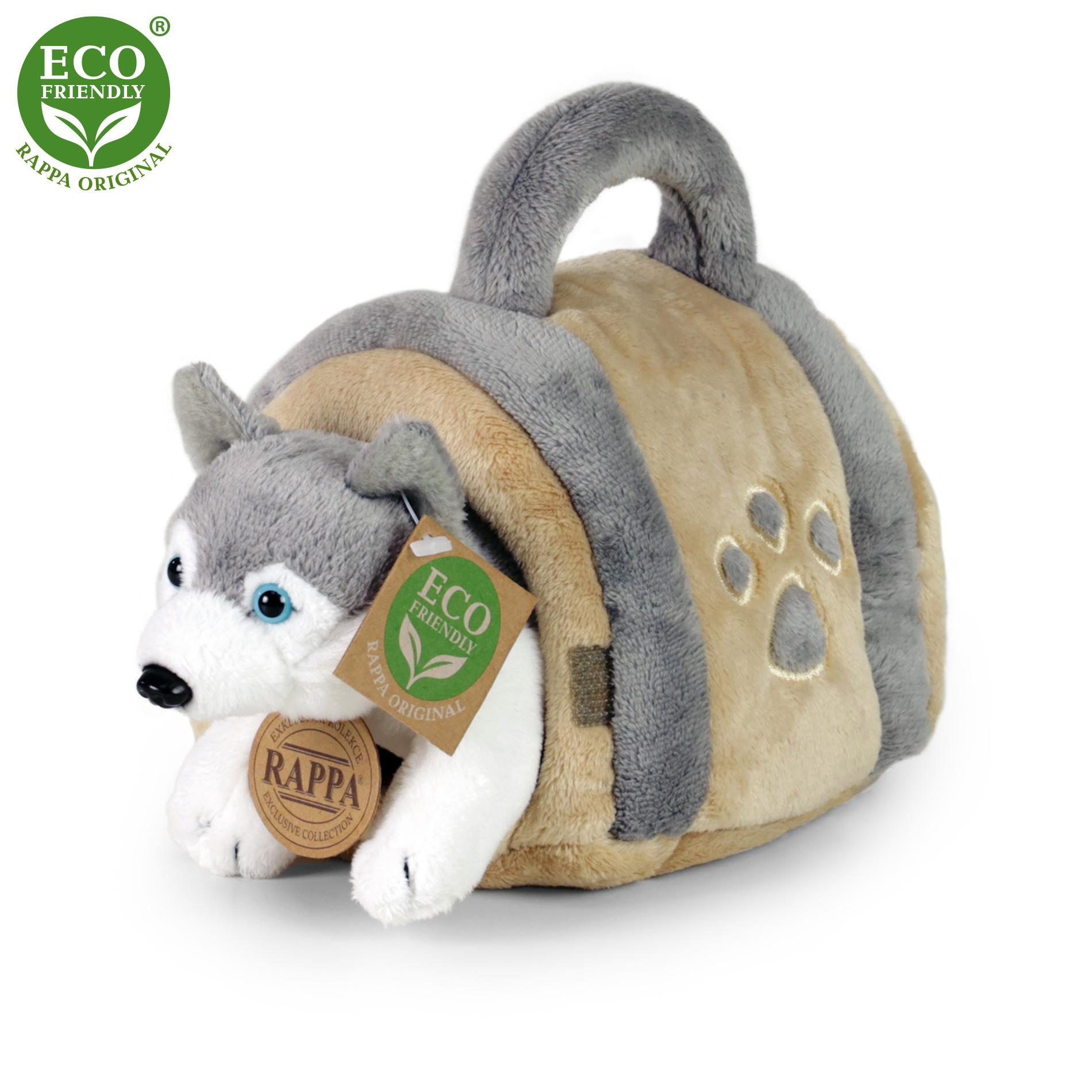 Plyšový pes husky 13 cm s přepravkou ECO-FRIENDLY