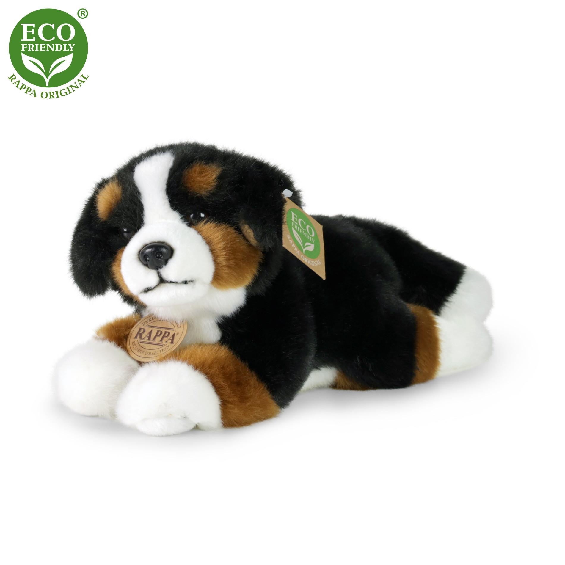 Plyšový bernský salašnický pes ležící, 23 cm
