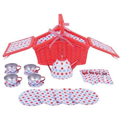 Bigjigs Toys Dřevěné hračky - Čajová sada v piknikovém koši