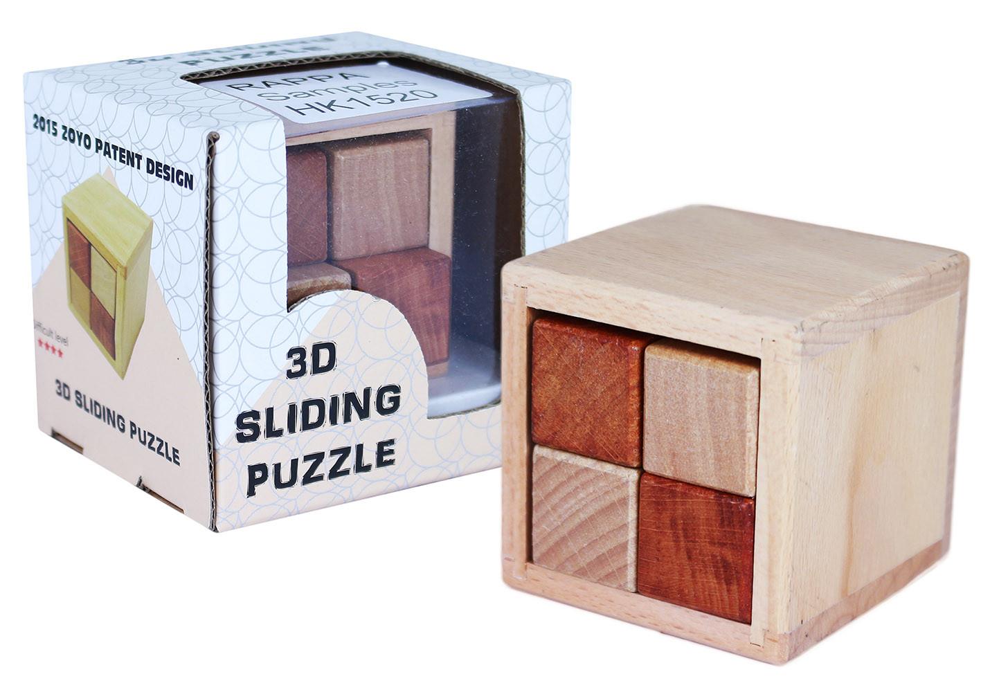 hlavolam posuvný 3D, dřevěný