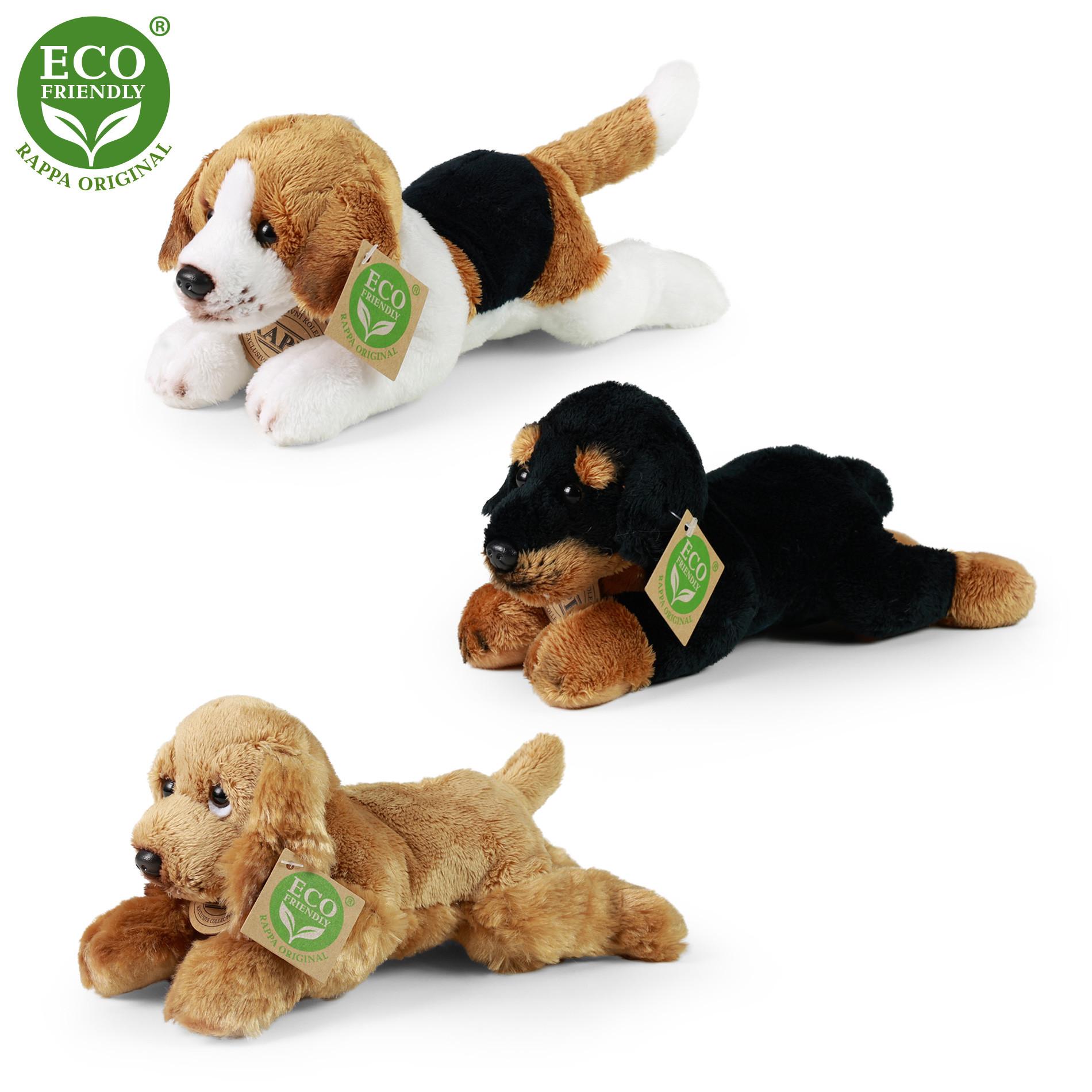 plyšový pes ležící, 3 druhy, 18 cm