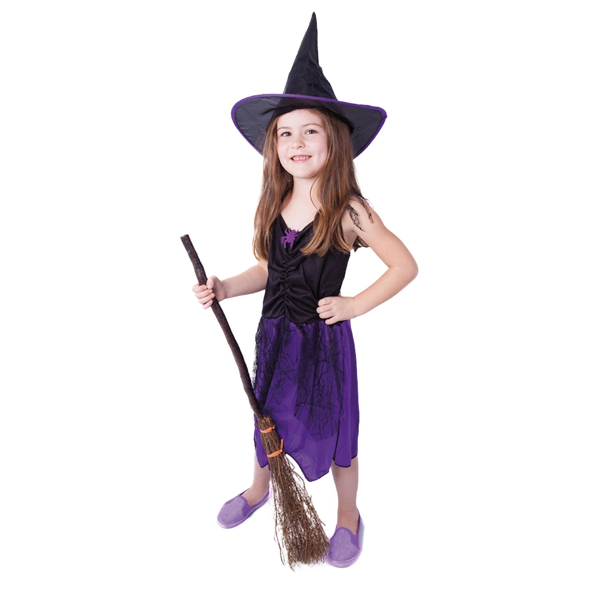 Dětský kostým fialová čarodejnice (M) s kloboukem, Čarodějnice / Halloween