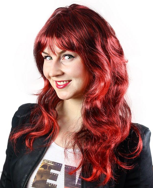 paruka dlouhé vlasy, červený melír