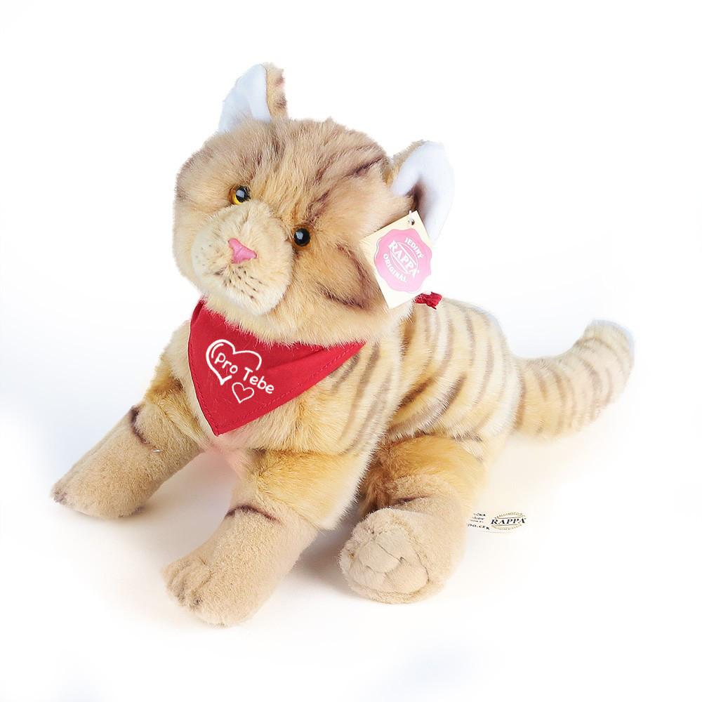 plyšová kočka se šátkem, 28 cm