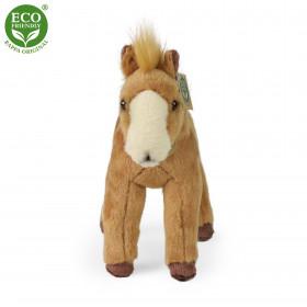 plyšový kůň stojící světle hnědý, 28 cm