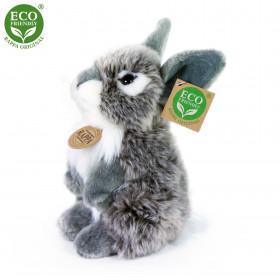 plyšový zajíc šedý sedící, 20 cm