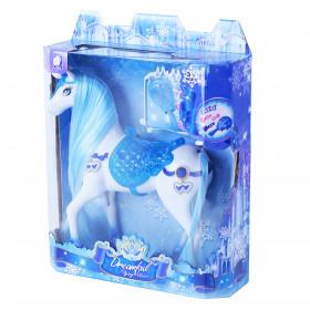 Česací modro-bílý kůň se zvukem a světlem