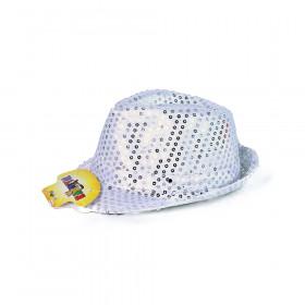 Klobouk disco stříbrný s LED světlem pro dospělé