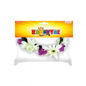 čelenka květina fialovo-bílá, 3 větší květy