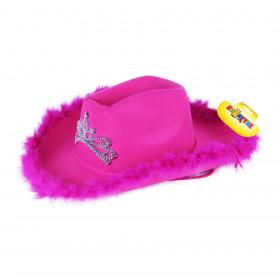 klobouk kovbojský růžový s korunkou dámský