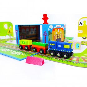 Vlak dřevěný naučný s puzzle a magnetickou krabičkou