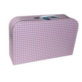 Kufr dětský 35cm růžový bílé káro