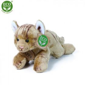 plyšová kočka ležící hnědá, 18 cm