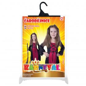 Dětský kostým bordó čarodějnice čarodějnice/Halloween (S)