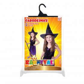 Dětský kostým fialová čarodejnice (S) s kloboukem, Čarodějnice / Halloween
