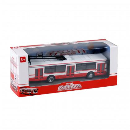 Kovový trolejbus červený, 16 cm