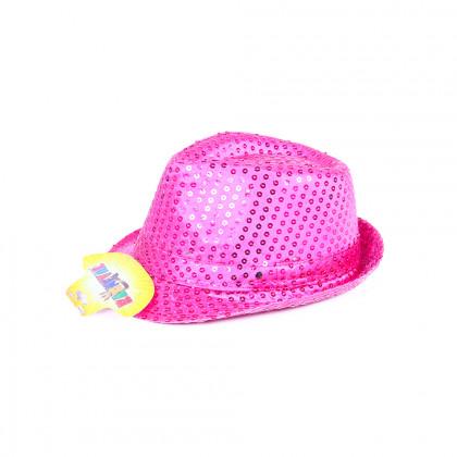Klobouk disco růžový s LED pro dospělé