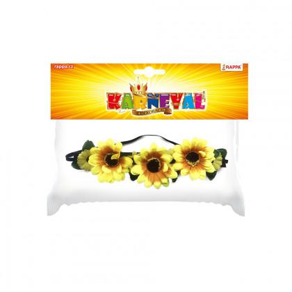 čelenka květina žlutá, 3 velké květy