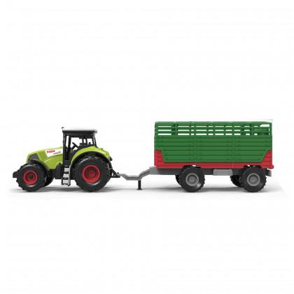 Traktor plastový se zvukem a světlem s vlečkou na seno