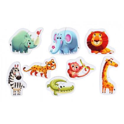 Africká zvířátka - naučné puzzle 8 zvířátek - 16 dílů