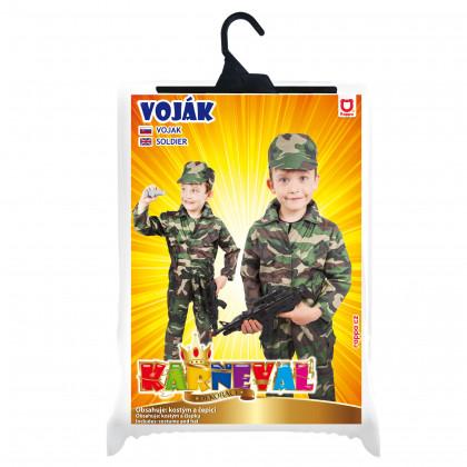 karnevalový kostým ARMY - voják, dětský, vel. M