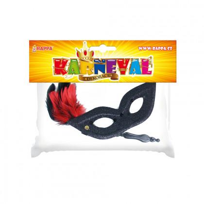 maska / škraboška s peřím 3 barvy