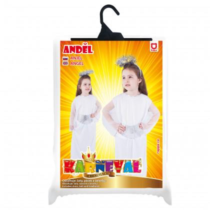 Dětský kostým Anděl se svatozáří a páskem (S)