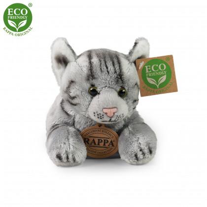 plyšová kočka ležící šedá, 18 cm