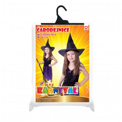 Dětský kostým Čarodějnice fialová s kloboukem (M)