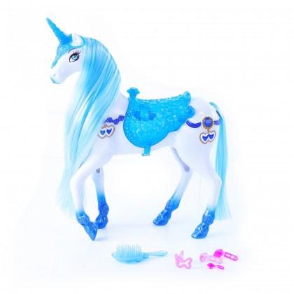 Česací modro-biely kôň so zvukom a svetlom