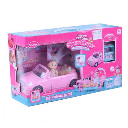 Bábika nevesta s rozložiteľným autom a príslušenstvom
