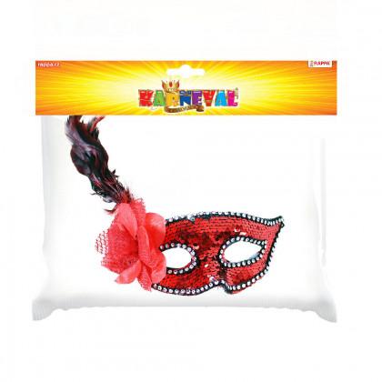 Červená škraboška s kvetom a perím