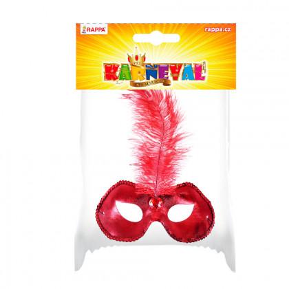 Červená škraboška / maska s pierkom