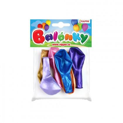 Balónik nafukovacie metalický 27 cm, 6 ks